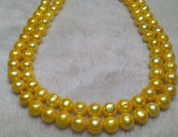 Wholesale Huge Golden South Sea Pearls - 35 INCH HUGE NATURAL AAA 9-10MM SOUTH SEA GOLDEN PEARL NECKLACE
