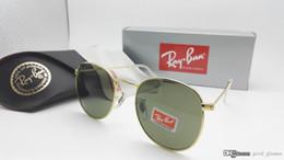 Wholesale Sunglasses Round Gold Metal - New Vintage Sunglasses RAY Men Women Brand Metal Gold Round Sun Glasses Bands BAIN Mirror Gafas de sol Lenses BANS with cases