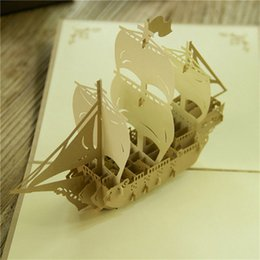 Wholesale Pop Up Cards Boat - Perfect 3D Pop Up Vintage Sailing Boat Design Christmas New Year Greeting Card Hollow Folding Birthday Card Kirigami Postcard