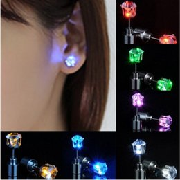Wholesale Dancing Earrings - One Pair Light Up Led Stainless Steel Earrings Studs Dance Party Accessories for Xmas New Year Men Women