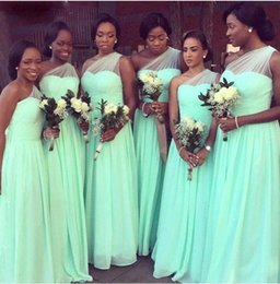 Wholesale One Shoulder Dresses For Juniors - mint green bridesmaid dresses 2017 long one shoulder cheap bridesmaid gowns for wedding party robe de mariage fast shipping