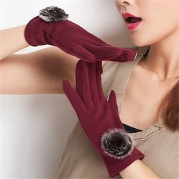 Wholesale Cashmere Rabbit Gloves - Wholesale- Fashion Warm Winter Women Gloves Plus Velvet Cashmere Rabbit Hair Pompom Ball Mitten Screen Windproof Gloves Thickened W0