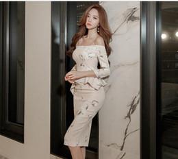 Wholesale Korean Dress Club - Spring Korean version of the new women's fashion printing collar false two-sevenths sleeve sexy hip hip split dress