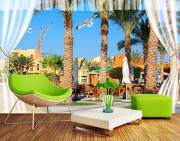 city bedroom wallpaper Promo Codes - 3D photo wallpaper custom 3d wall murals Palm Beach city background 3d living room wall decor