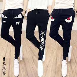 Wholesale Corduroy Jeans - The fall of men's casual pants black skinny pants men Haren jeans slim Korean students tide