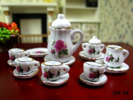 Wholesale Furniture For Dolls - 15pcs set Dollhouse Miniature China teaware Furniture Toys Accessories Mini Porcelain Coffee Tea Cup pot dish for 1:12 doll house model gift