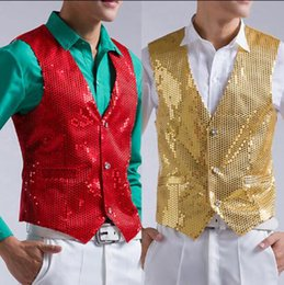 Wholesale Stage Clothing Gold - Hot 2015 new fashion casual men sequined suit vest dress show singer stage clothing red and gold costumes