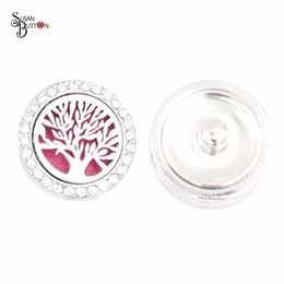 Wholesale Wholesale Locket Bracelet - 10pcs lot 22mm Snap Button Jewelry Rhinestone Tree of life Magnetic Aromatherapy Diffuser Locket Snap Buttons Fit DIY Snap Bracelets Bangles