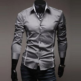 Wholesale Morden Men - Wholesale- New Fashion Men Stylish Dress Luxury Long Sleeve Casual Slim Fit Shirts White US Size Morden 2016