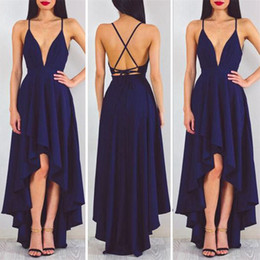 Wholesale Criss Cross Cocktail Dress - Sexy Michael Costello Prom Dresses V Neck Spaghetti Straps Satin Backless High Low Cocktail Party Dresses Cheap Navy Blue Evening Dresses
