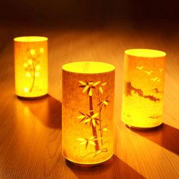 Wholesale Carved Bedroom Sets - Parchment paper carving remote control night light charging light and shadow bedroom bedside decoration set time off to accompany sleep