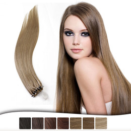 "Wholesale Micro Loop Link - Hot Sell Neitsi 16"" 20"" 24"" 1g s 50g lot Micro Loop Ring Links Beads Human Hair Straight Extensions 100% Indian Virgin Remy Hair Piece"