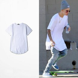 Wholesale Plain White T Shirts Man - Mens Cotton Plain White T Shirt Curve Bottom Extra Long Justin Bieber Unisex Undershirt Short Sleeve