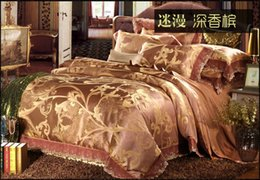 Wholesale Champagne Bedding Sets - Luxury deep champagne lace satin jacquard bedding set king queen size quilt duvet cover bed in a bag sheet bedspreads linen 4pcs