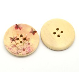 Wholesale Wooden Packing - Kimter Flower Printed Round Wooden Sewing Buttons With 4 Holes 30mm For DIY Projects Fine Motor Skills Sorting Counting Pack Of 30pcs I603L