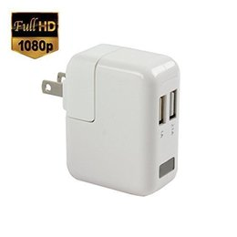 Wholesale Adapter Spy Camera Motion - 1080P HD USB Wall Charger Hidden Pinhole Camera Nanny Spy Camera Mini DV AC Power Adapter Video Recorder With Motion Detection