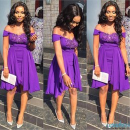 Wholesale Maid Wear Club Sexy - Modest Purple Short Party Dresses Off Shoulder Knee Length Chiffon Applique 2017 Arabic Women Occasion Prom Gowns Club Maid of Honor Dress