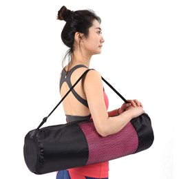 Wholesale Pvc Mat Yoga - Wholesale-Sports Accessories Adjustable Strap Nylon Mat Bag Carrier Mesh For Yoga Gym Fitness Exercise Sports