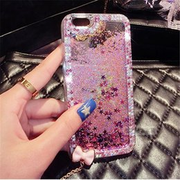 Wholesale Diamond Rhinestone Iphone5 Case - 50pcs Luxury Diamond Bow Chain drill quicksand star glitter case cover for iphone5 5s 6 6s 7 plus