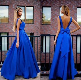 Wholesale Cheap Big Bows - 2017 New Elegant Royal Blue A Line Evening Dresses Sleeveless Backless Prom Dresses With Big Bow Cheap Floor Length