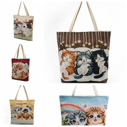 Wholesale happy female - Cartoon happy cat Print Casual Tote Lady Canvas Beach Bag Female Handbag Large Capacity Daily Use Women Single Shoulder Shopping Bags