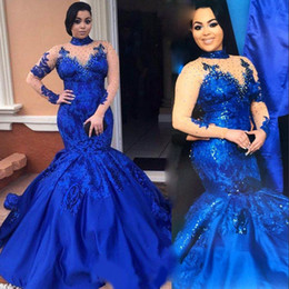 Wholesale Mermiad Dresses - Fashion High Neckline Prom Dress Illusion Long Sleeve Sequined Applique Mermiad Evening Gowns 2017 Stunning Royal Blue Celebrity Party Dress