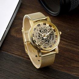 Wholesale Reloj Skeleton - s Quartz Wristwatches SOXY Top Brand Skeleton Watch Men Watch Luxury Gold Wrist watches Full Steel Men's Watch Clock reloj hombre relogio...