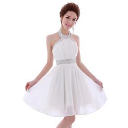 Wholesale Fast Shipping Bridesmaid Dresses - Beaded Halter Neck Short Bridesmaid Dress 2018 Knee Length Ball Gown Wedding Bridesmaid Gowns Fast Shipping