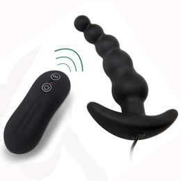 Wholesale Prostate Vibrators - Prostate Massage Anal Sex toys Anal vibrator Butt Plug 10 mode Silicone Anal beads Sex toys for men Sex products