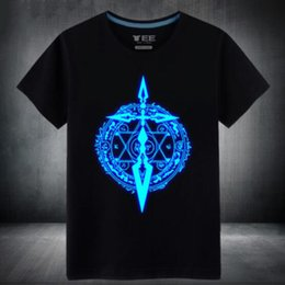 Wholesale fluorescent yellow color - Mens Summer Fluorescent Anime Fate saber stay Night T Shirt casual Male Luminous In Dark Short Tshirts high quality