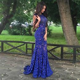 9c4d21e35a6 синее платье с открытой спиной Скидка Блеск Бисером Дешевые Длинные Русалка  Пром Платья Королевский Синий Кружева