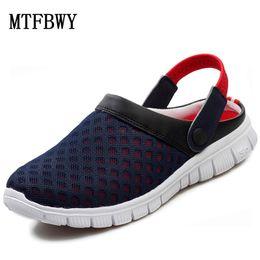 Wholesale Light Blue Flip Flops - Wholesale-2016 New Women Men's Summer Shoes Sandals Breathable Slippers Mesh Lighted Casual Shoes Outdoor Slip On Shoes Beach Flip Flops