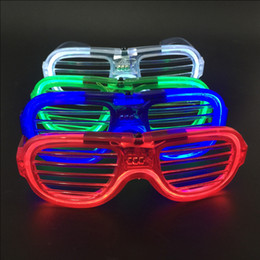 Wholesale Birthday Plastic Glasses - LED Glasses Cold Light Glint Luminescence Plastic Window Shades Shape Spectacles Birthday Party Flash Eyeglass Sunglasses Popular 2 7hg C R