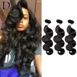 Wholesale Hair Body Wave Free Shipping - Brazilian Hair Weave Body Wave Wavy 100% Human Hair Extensions 3pcs Unprocessed Brazilian Hair Weft Bundles Free Shipping