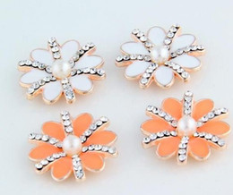 Wholesale Metal Flower Embellishments Wholesale - Flat Back crystal button metal rhinestone button with pearl flower cluster hair flower center wedding embellishment scrapbooking