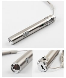 Wholesale Diving Laser - New USB stainless steel mini charging light flashlight LED laser checking lamp rechargeable camping outdoor torch three in one