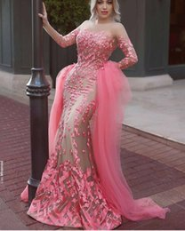 Wholesale Tulle Detachable Train Evening Dress - Gorgeous Long Sleeves Muslim Arabic Pink Mermaid Evening Dresses with Detachable Train Tulle Long Prom Dress Party