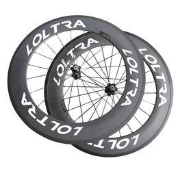Wholesale Road Bike Race Wheels - 700C Full Carbon 88 mm Clincher Road Bike Wheels LOLTRA Bicycle Wheels Super Light Carbon Wheels Racing Wheelset