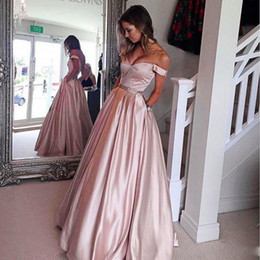 Wholesale Dress Cocktail Evening Sequin Black - Blush Pink Prom Dresses With Sash Beads Sequins Off The Shoulder A Line Satin Party Dresses Pleats Formal Cocktail Evening Gowns Cheap