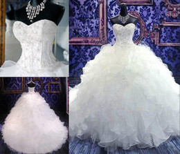 Wholesale Beaded Corset Tiered Ruffles - 2017 Vintage Wedding Dresses Ball Gown Beaded Sweetheart Corset Royal Princess Gowns Ruffled Organza Chapel Train Bridal Wedding Dress