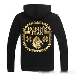 Wholesale Usa Wings - 2017 Robin Jeans Mens With Wings American USA 57 Bronzing Hip Hop Hoodies And Sweatshirts Men Sudaderas Hombres Sweat homme