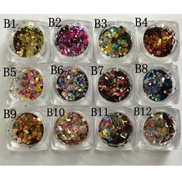 Wholesale Wholesale Sequin Art - Wholesale- 12 Nail Art Glitter ROUND Shapes Confetti Sequins Acrylic Tips UV Gel B Style Sale By 12jar set