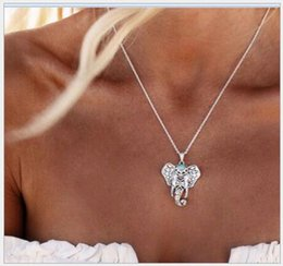 Wholesale Thai Silver Jewelry Wholesale - National style Elephant Pendant Necklace Vintage Bohemian Gypsy Imitation Thai Silver Mascot Alloy Jewelry for Women Cheap Price