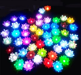 Wholesale wish lamps - New Arrive Diameter 19 cm LED Lotus Lamp in Colorful Changed Floating Water Pool Wishing Light Lamps Lanterns for Party Decoration