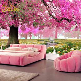 Wholesale Hd Mural - Wholesale- Custom Photo Mural 3D Stereoscopic Romantic Cherry Tree Wall Painting Art HD Living Room Sofa TV Background 3D Mural Wallpaper