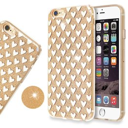 Wholesale Wholesale Hybrid Iphone Glitter - Hybrid Soft TPU Bumper PC Back Cover Heart Glitter Bling Shock-Absorbing Protective Shell Case For iPhone 7 iphone 6s cases