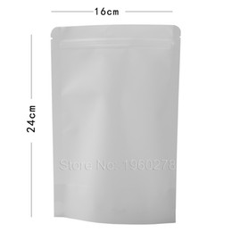 """Wholesale Coffee Bean Packaging Bags - 16x24cm (6.25x9.5"""") 100PCS Tear Notch Reclosable Stand Up Zip Lock Package White Kraft Paper Food Coffee Bean Storage Bag"""