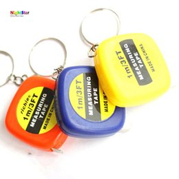 Wholesale Mini Retractable Measuring Tape - Wholesale- 2pcs 1M Measure Pull Ruler Style Mini Keychain Key Ring Easy Retractable Tape Color Random
