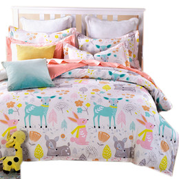 Wholesale White Full Bedroom Set - Wholesale-cartoon duvet cover sets 4pc bedding set 4pcs for children' bedroom colorful deer twin full queen single size free shipping