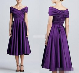 Wholesale Dark Blue Suits For Women - Purple Tea Length Mother of the Bride Dresses with Short Sleeves 2016 Off Shoulder Plus Size Long Women Formal Party Dresses For Wedding